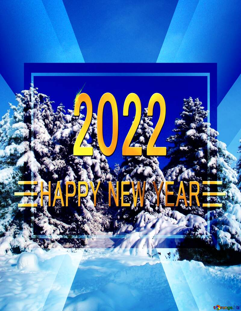 Tree  Snow  sun  happy new year 2022 banner layout business background №10576