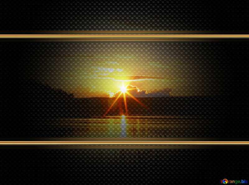 Evening landscape carbon gold frame №36480