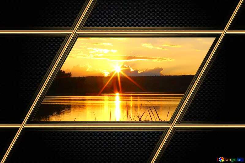 Evening landscape gold lines frame №36480