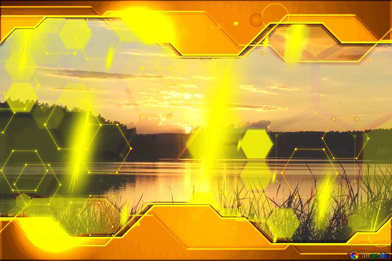 Evening landscape Gold Technology business concept Hi-tech №36480