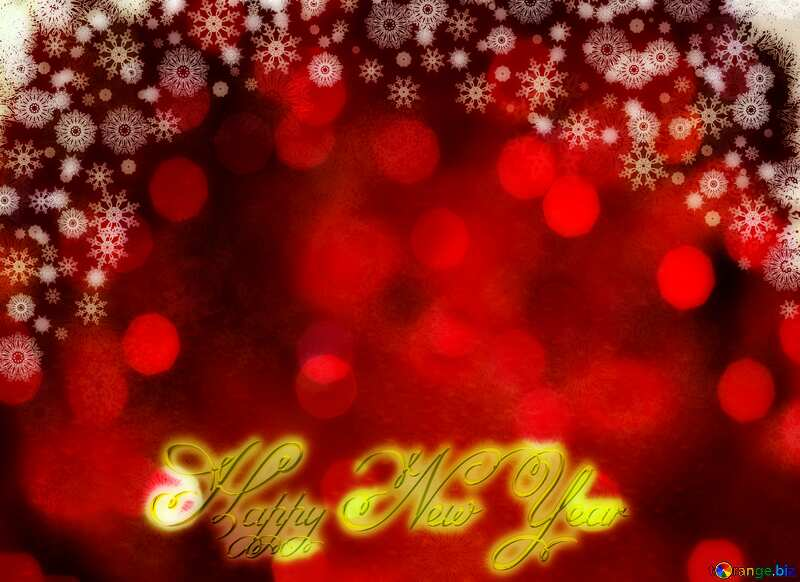 Red Christmas background text Happy New Year gold №40659