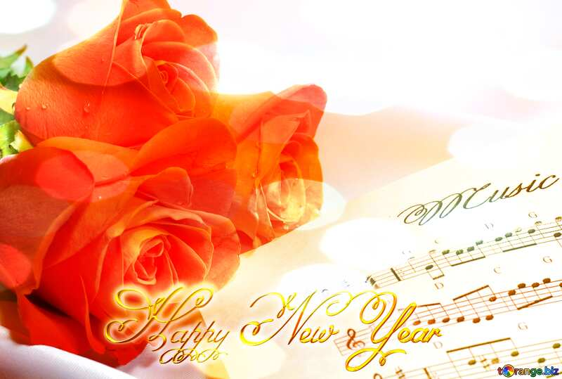 Postcard greetings music happy new year №7255