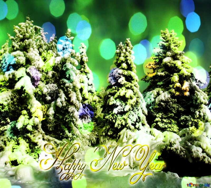 Pine Tree  Snow  sun  Happy New Year gold 3d text №10576