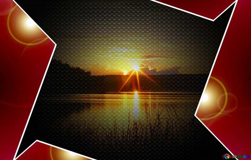 Evening landscape Red carbon hi-tech template №36480