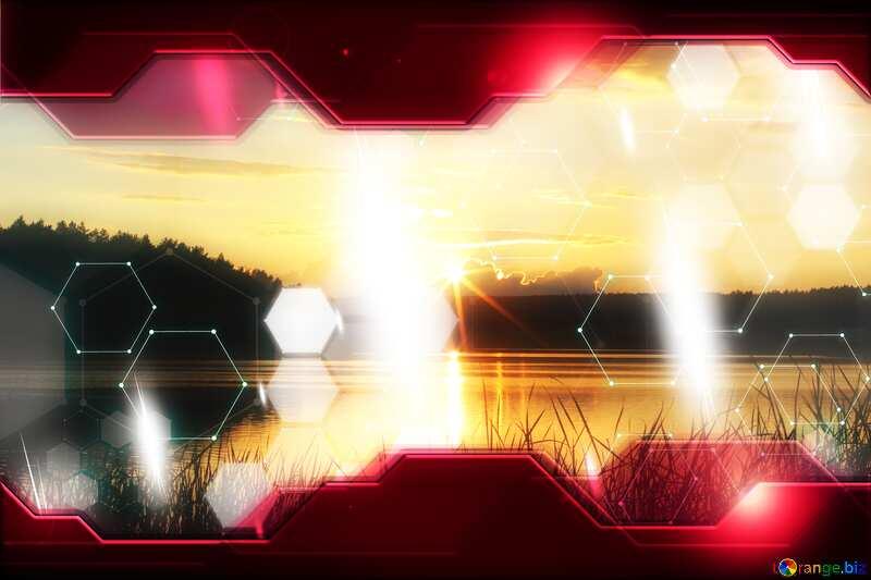Evening landscape Red Information Technology business concept Hi-tech №36480