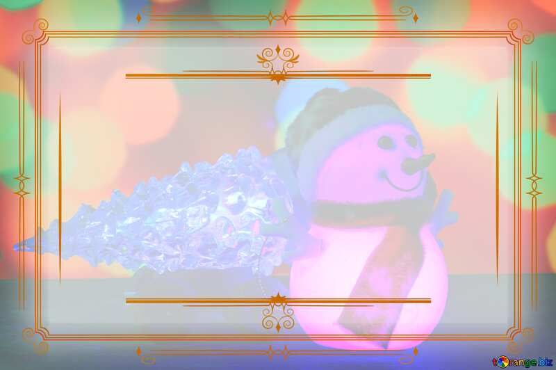 Christmas snowman Vintage frame retro clip art №48110