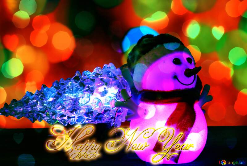 Christmas snowman Happy New Year gold lights background №48110
