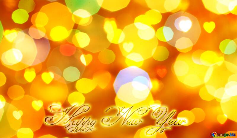 Background of bright lights Happy New Year hearts №24618