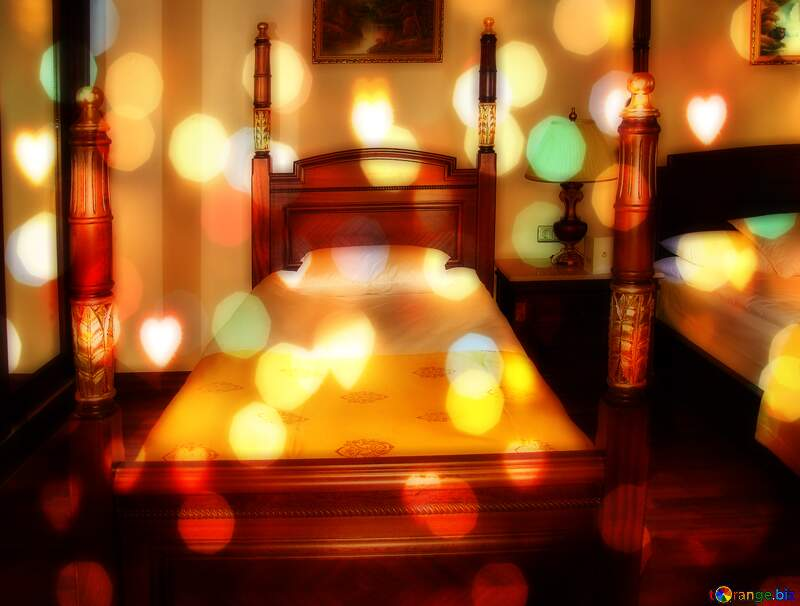 Bed Bright Brilliant Lights Background Love hearts №7971