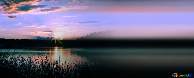 Blue Evening landscape blur left side №36480