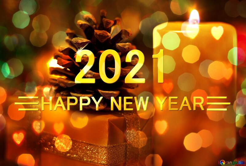 Candle Gift Background Card Happy New Year 2021 №6625