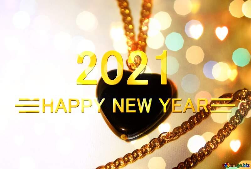 Black heart Greeting Cheerful Shiny Happy New Year 2021 №3584