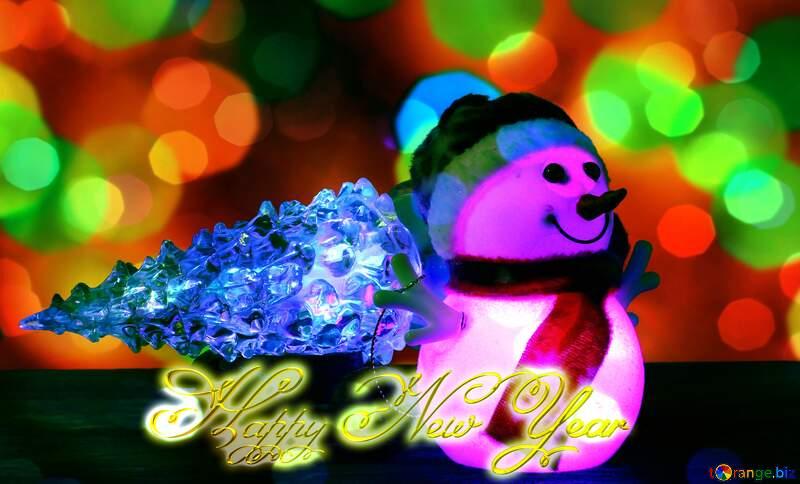 Christmas snowman Inscription text Happy New Year 3d gold №48110
