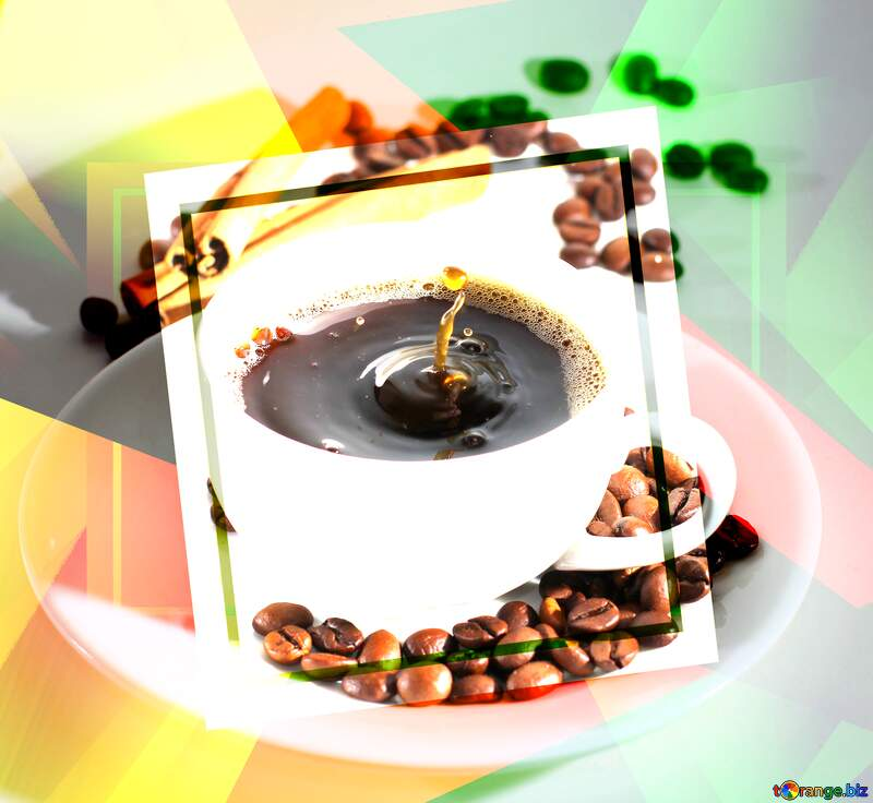 Cup of coffee creative abstract future trend template frame №30851