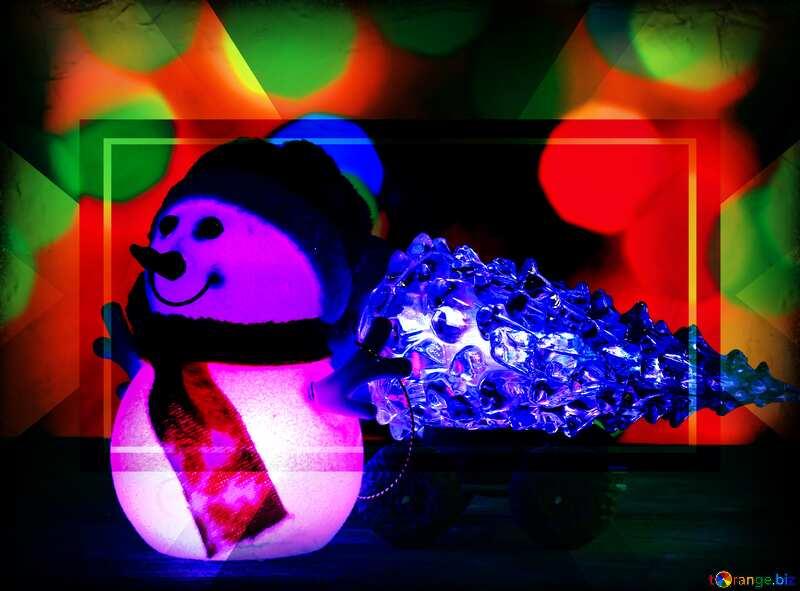 Christmas snowman tree frame №48110