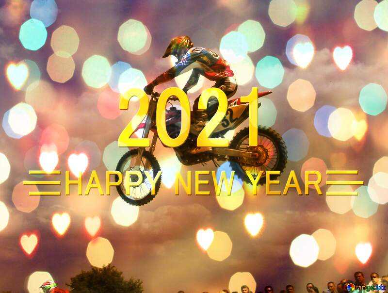 Motorcycle Card Background Happy New Year 2021 №7817