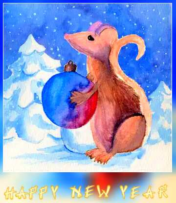 Very Vivid Colours. Blur dark frame. Card with text Happy New Year.