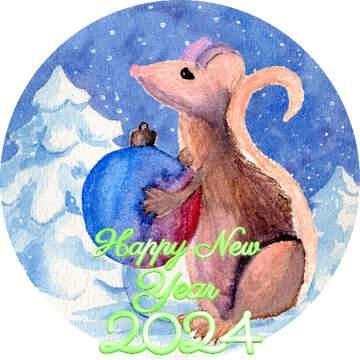 Картинка в круге. Happy New Year 2020.