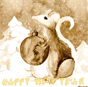 The effect of light. The effect sepia. Card with text Happy New Year.