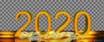 2020 3d render gold digits with reflections opacity dark background isolated Inscription text Happy New Year