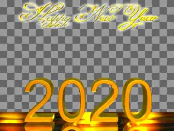 Happy New Year 2020 3d render gold digits with reflections opacity dark background isolated