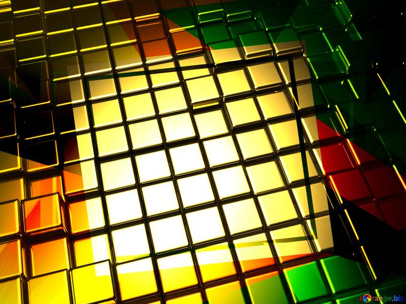 3d abstract gold metal cube background Abstract Geometrical Frame №54498