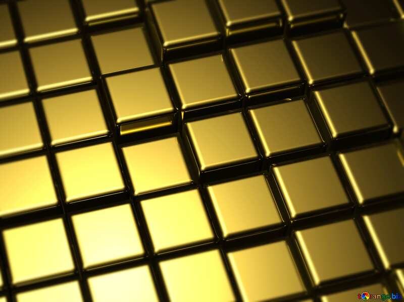 3d abstract gold metal cube background Blur Frame №54498