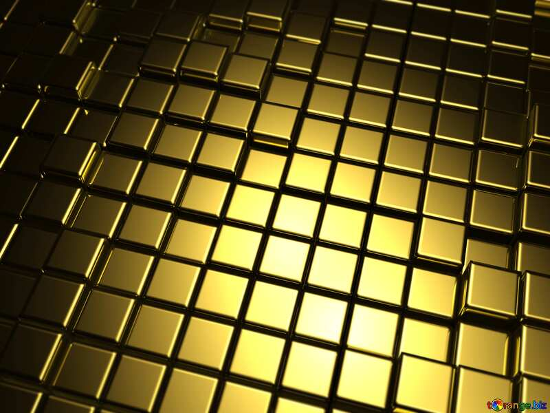 3d abstract gold metal cube background Blurring dark №54498
