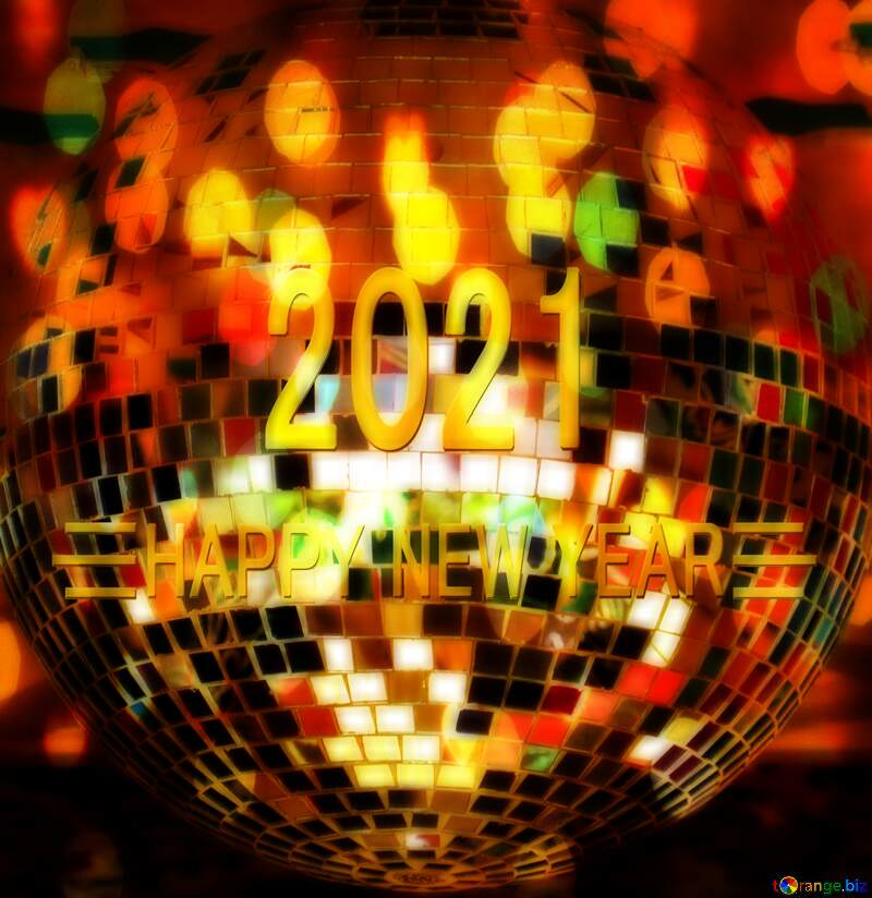 Disco ball lamp happy new year 2021 background №53395