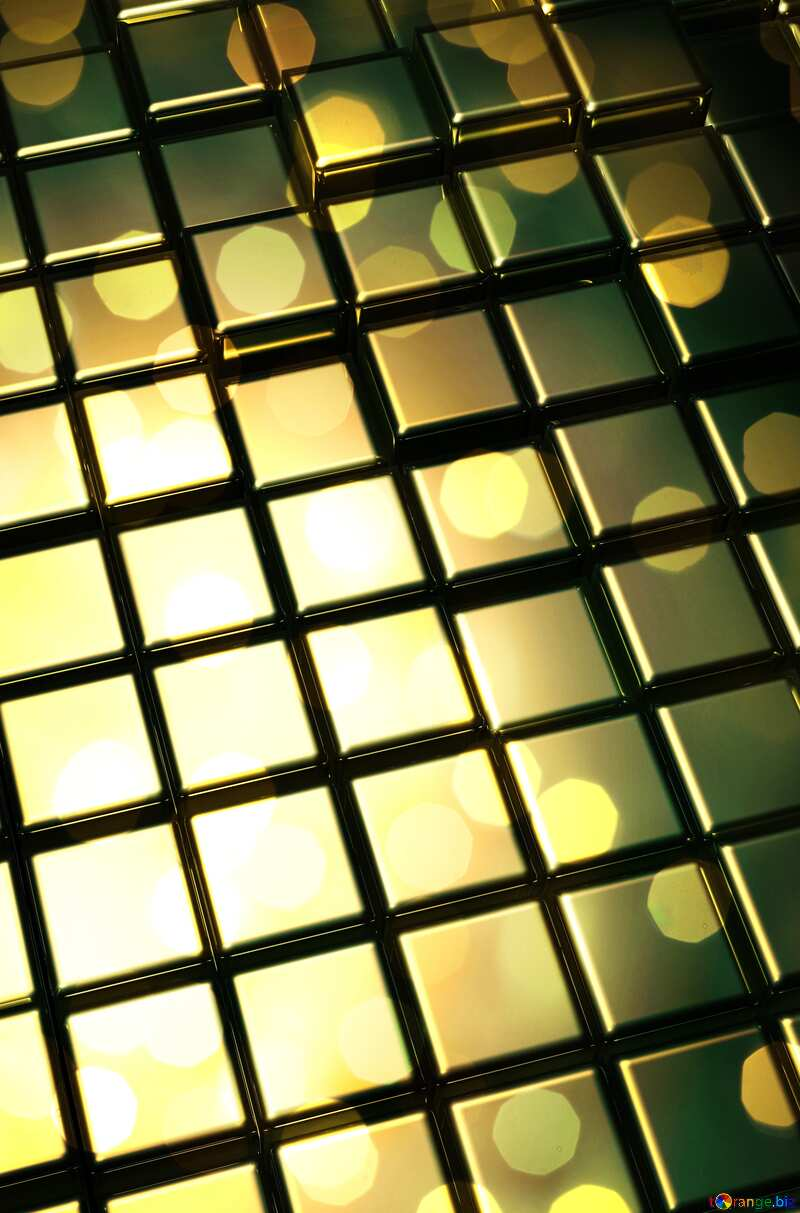 3d abstract gold metal cube background Bokeh lights №54498