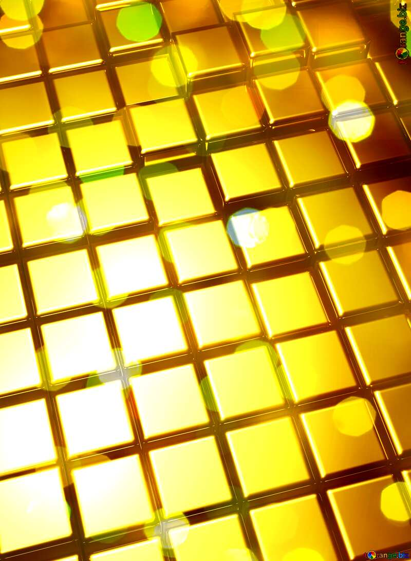3d abstract gold metal cube background Bokeh Wedding №54498