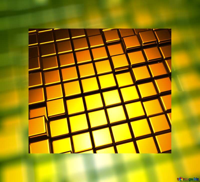 3d abstract gold metal cube background Box Border №54498