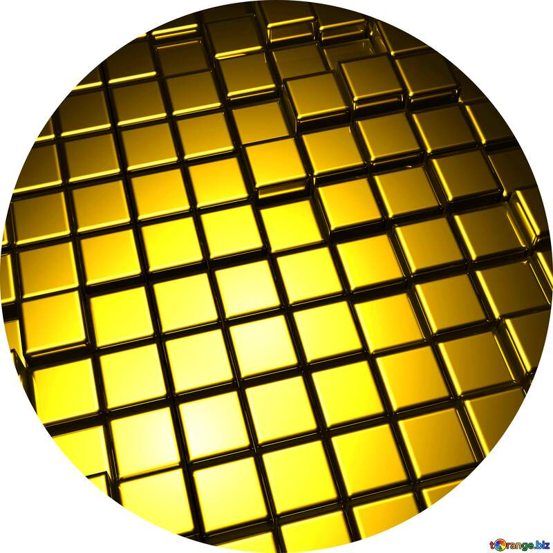 3d abstract gold metal cube background Circle Frame №54498