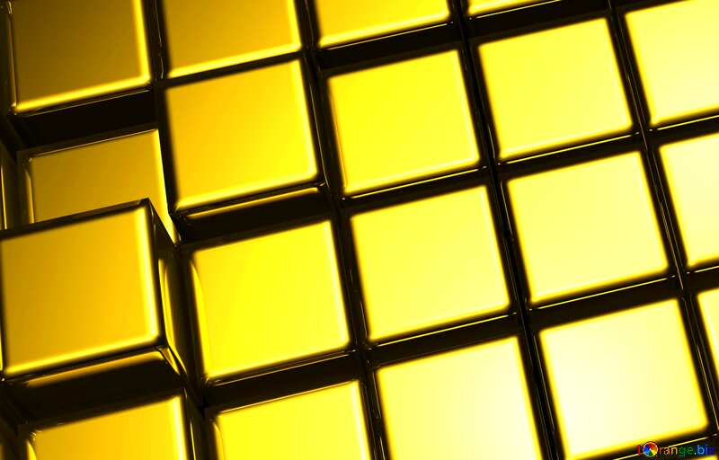 3d abstract gold metal cube background close up №54498