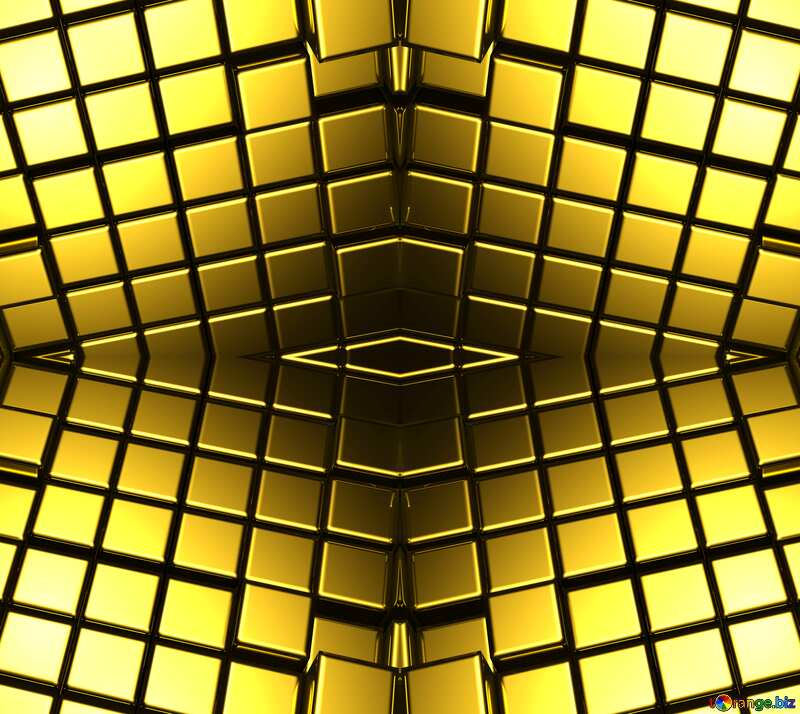 3d abstract gold metal cube background Futuristic Pattern №54498