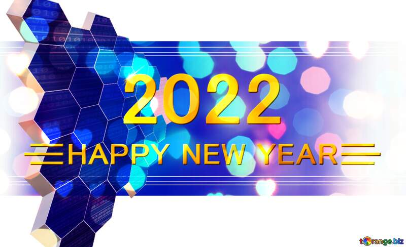 happy new year 2022 it information technology business concept gold lights №49674