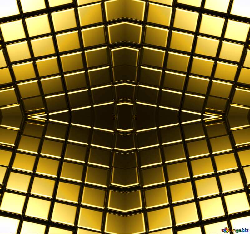 3d abstract gold metal cube background Pattern Futuristic №54498