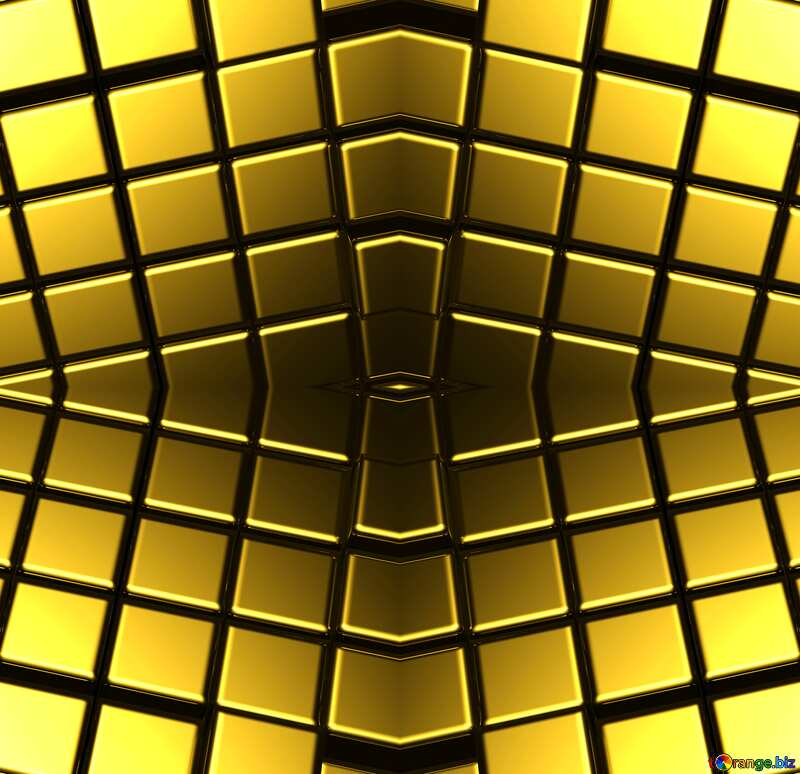 3d abstract gold metal cube background Steampunk Style №54498