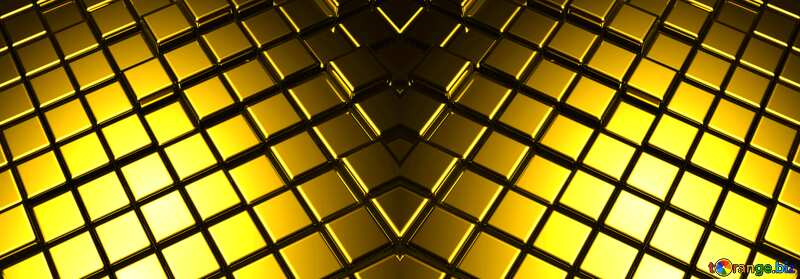 3d abstract gold metal cube background symmetrical №54498