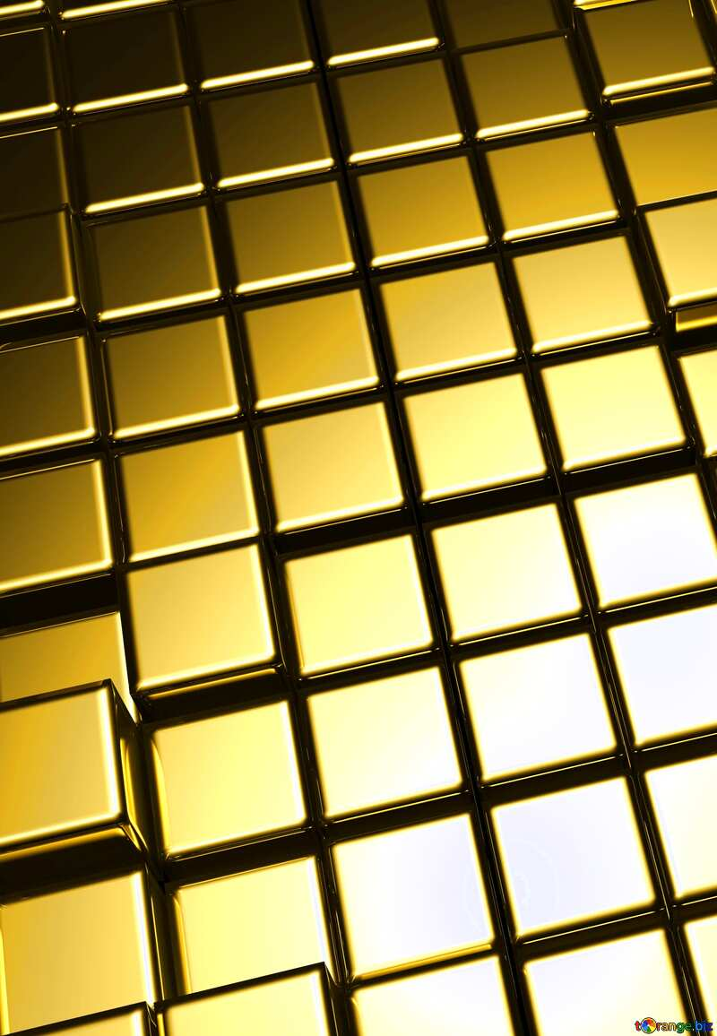 3d abstract gold metal cube background Vertical №54498
