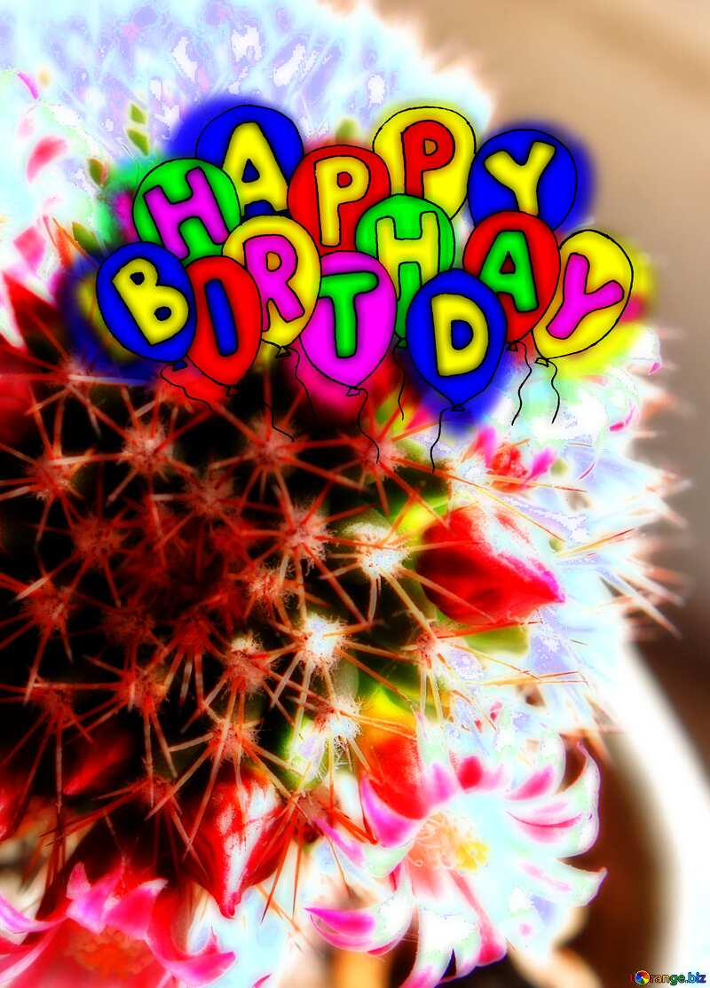 Happy birthday. Drawing cartoon style Air Balloons concept Cactus Flowers №46596