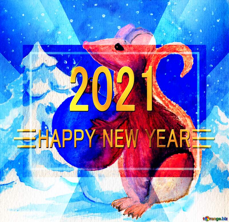 Chinese new year 2021 year of the rat   Christmas Snow forest background. Hand drawing painted watercolor hobby card. Winter sale of goods banner. Mouse Holds a gift in hands. gold banner 2021 Shiny happy new year 2021 №54497