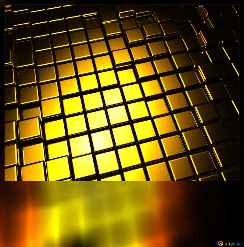3d abstract gold metal cube background Blank Card Motivation №54498
