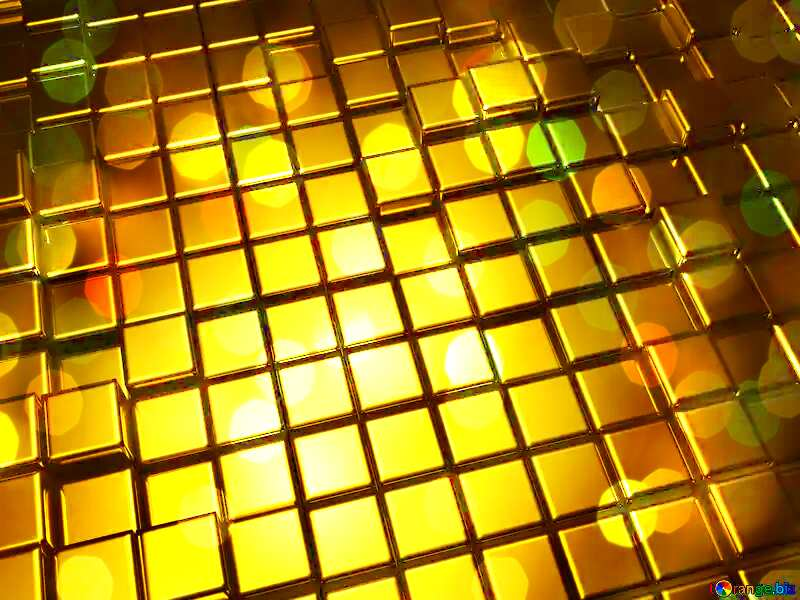 3d abstract gold metal cube background Bokeh Background Illustration №54498