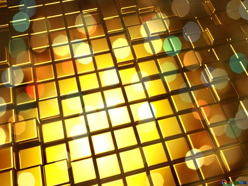 3d abstract gold metal cube background Bokeh Christmas Card Texture №54498