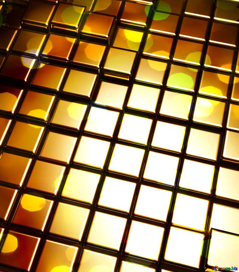 3d abstract gold metal cube background Beautiful Bokeh Computer Futuristic Technology №54498