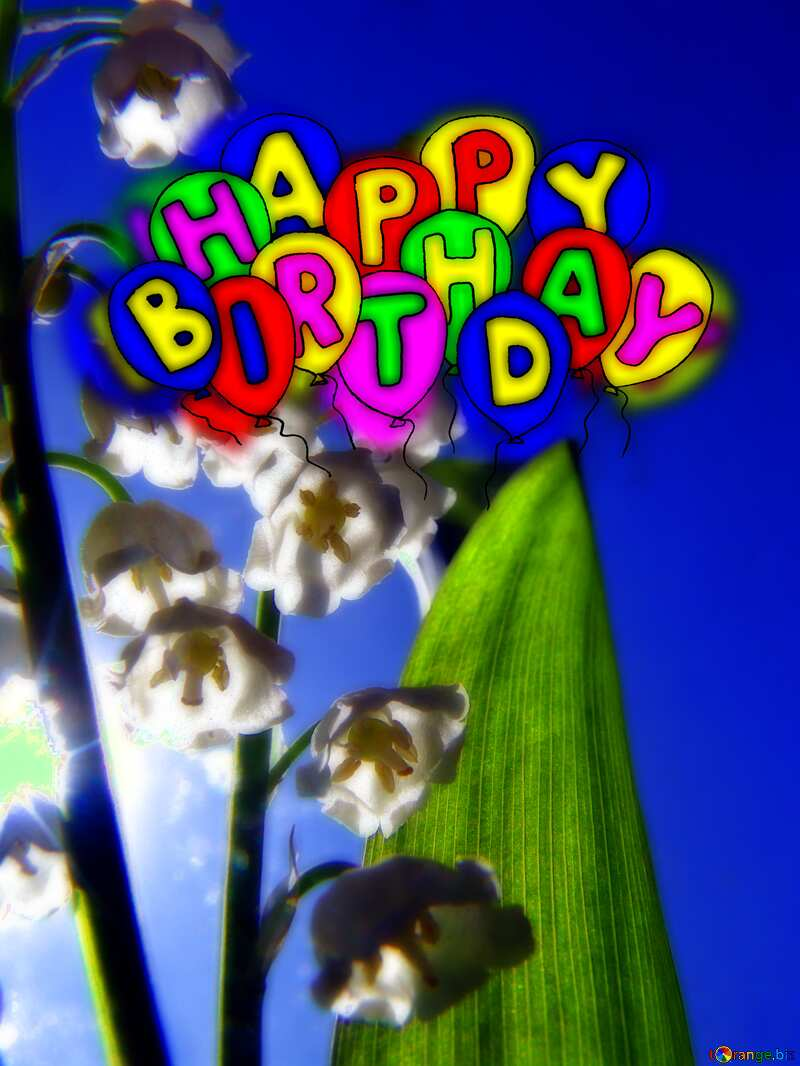 Flowers lilies Happy birthday. Drawing cartoon style Air Balloons card Greeting card №5313