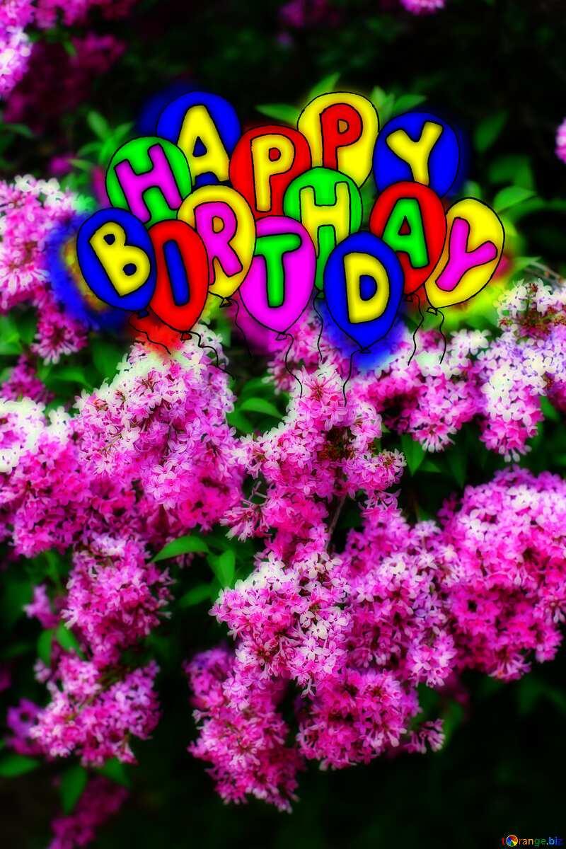 Happy birthday. Drawing cartoon style Air Balloons card Lilac flowering Bush №37554