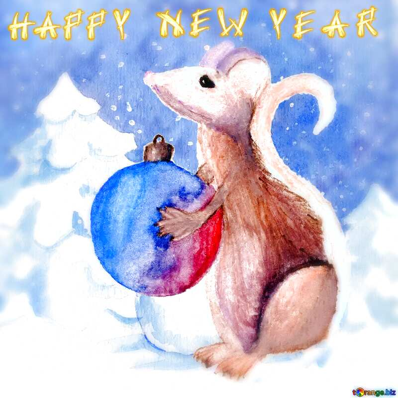 Chinese new year 2020 year of the rat   Christmas Snow forest background. Hand drawing painted watercolor hobby card. Winter sale of goods banner. Mouse Holds a gift in hands. blur frame №54497