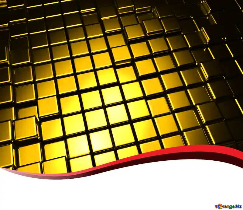 3d abstract gold metal cube background Card Red Ribbon Blank №54498